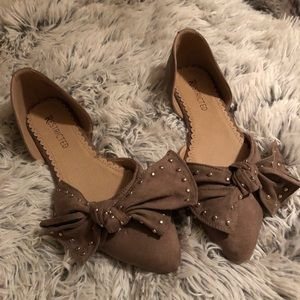 Suede Flats with bow
